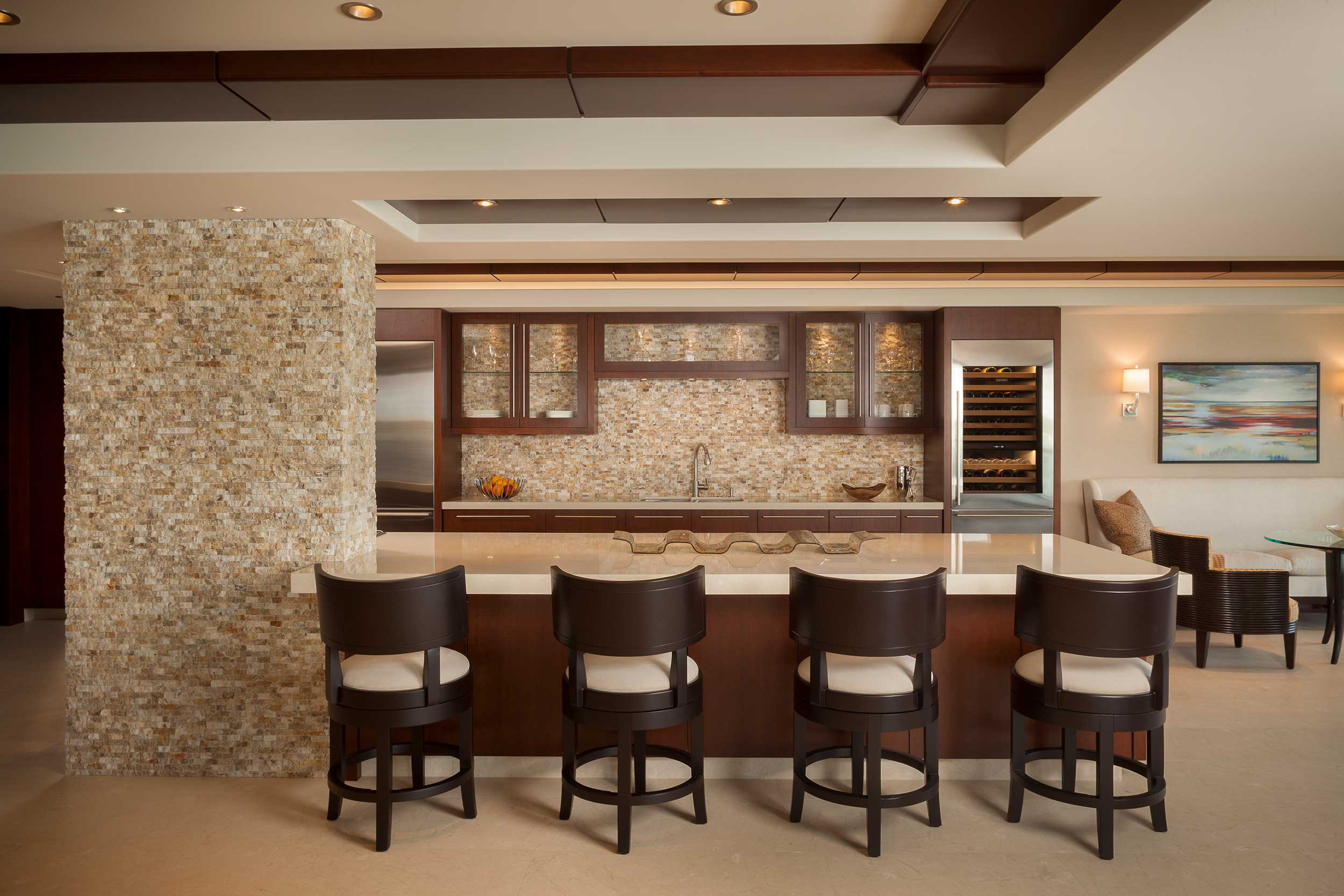 Kitchen with Atmospheric Interior Design Project,Palm Beach, FL
