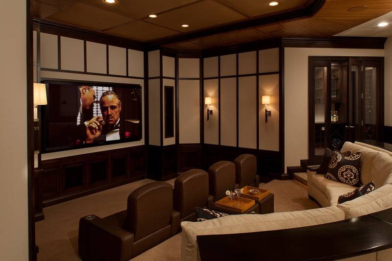 Movie theater room at residential interior design Project, Stuart, FL