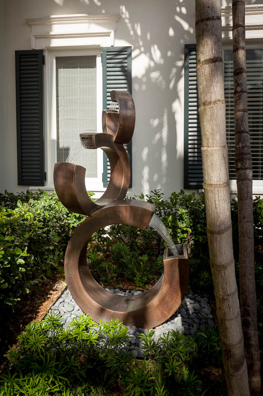 Modern outdoor fountain/art at Old Palm Golf Club