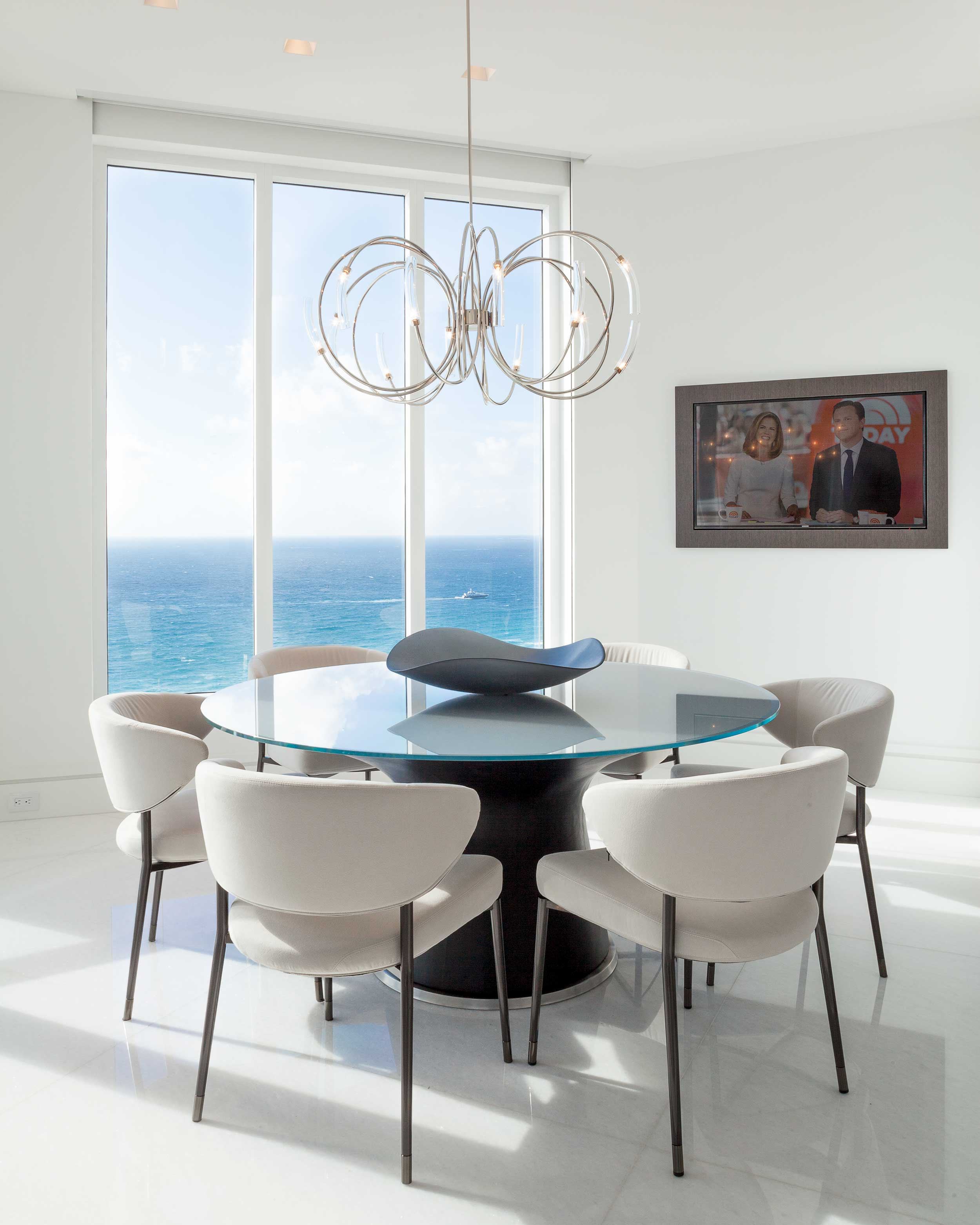 Dining room interior design with ocean view