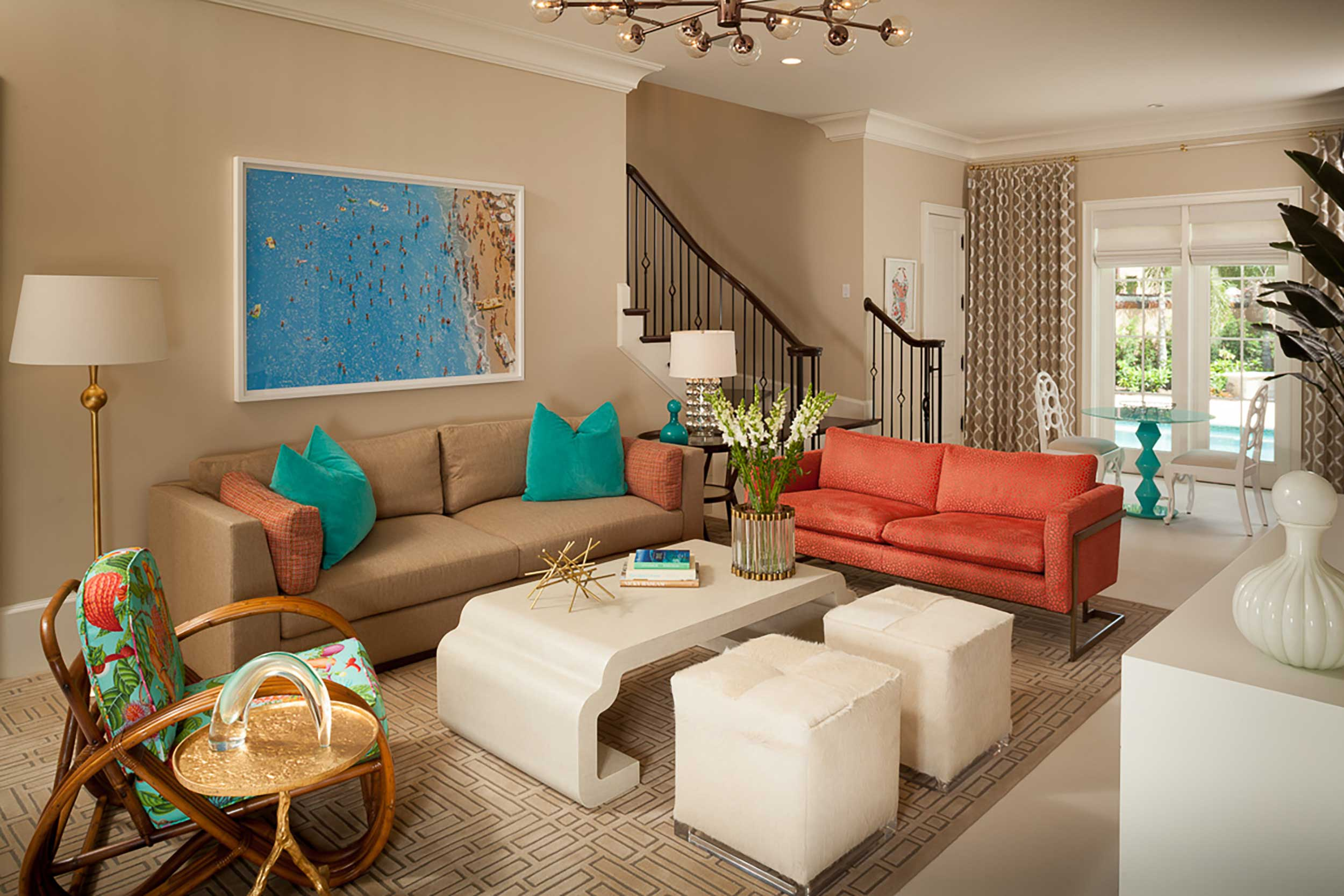 High end living room at in Boca Raton, FL
