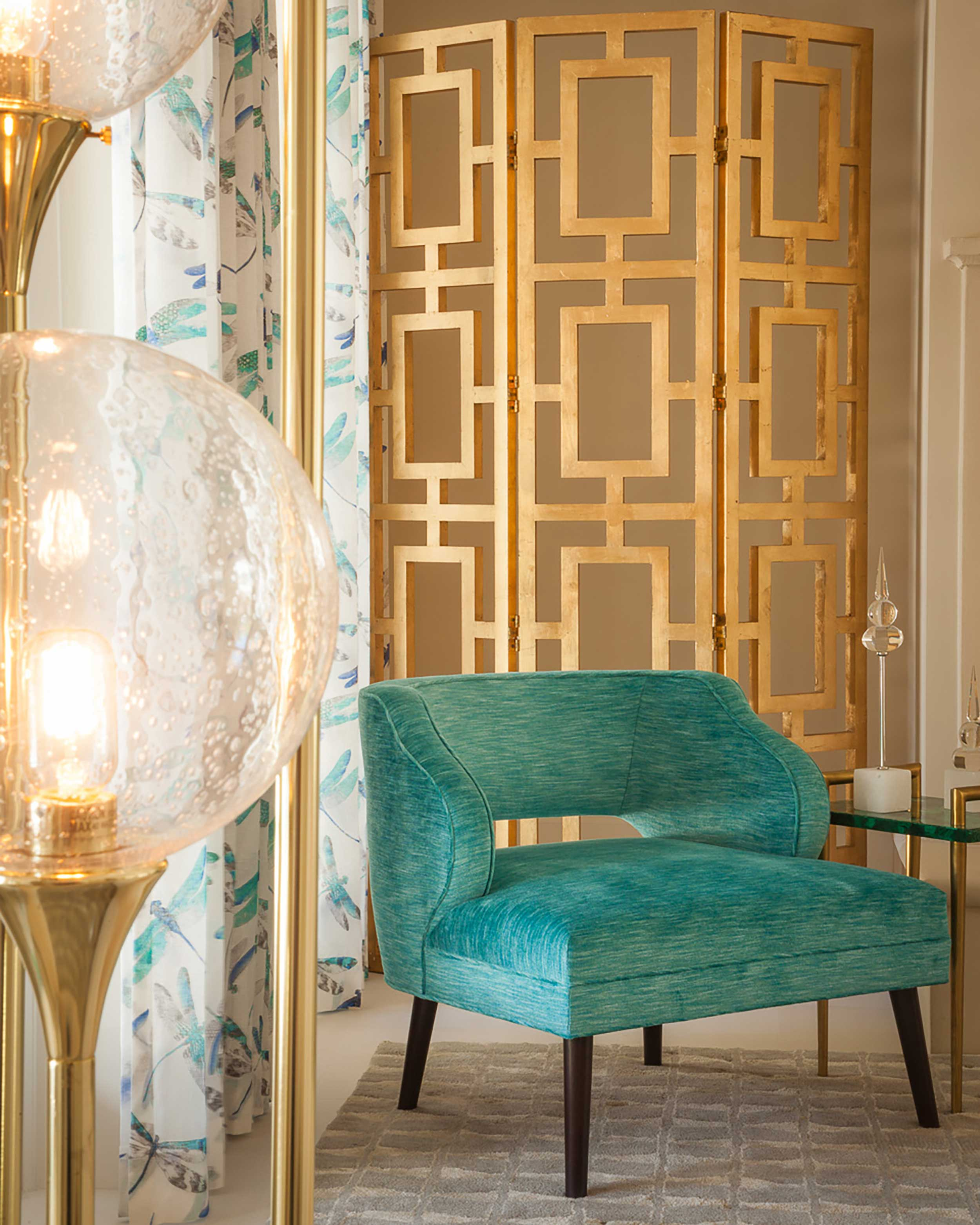 High end teal accent chair at in Boca Raton, FL