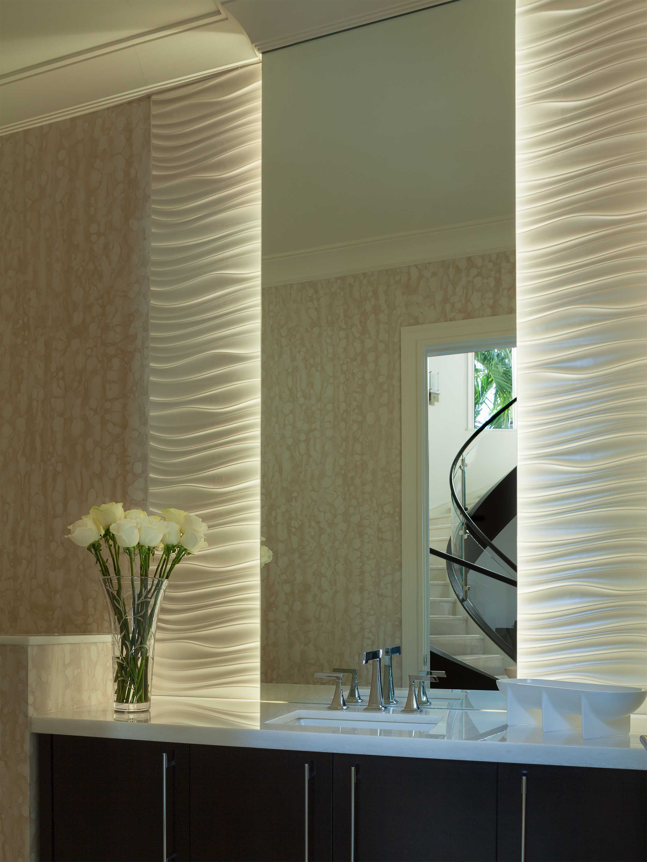 Bathroom with textured columns in Residential Interior Design Project in Jupiter, FL