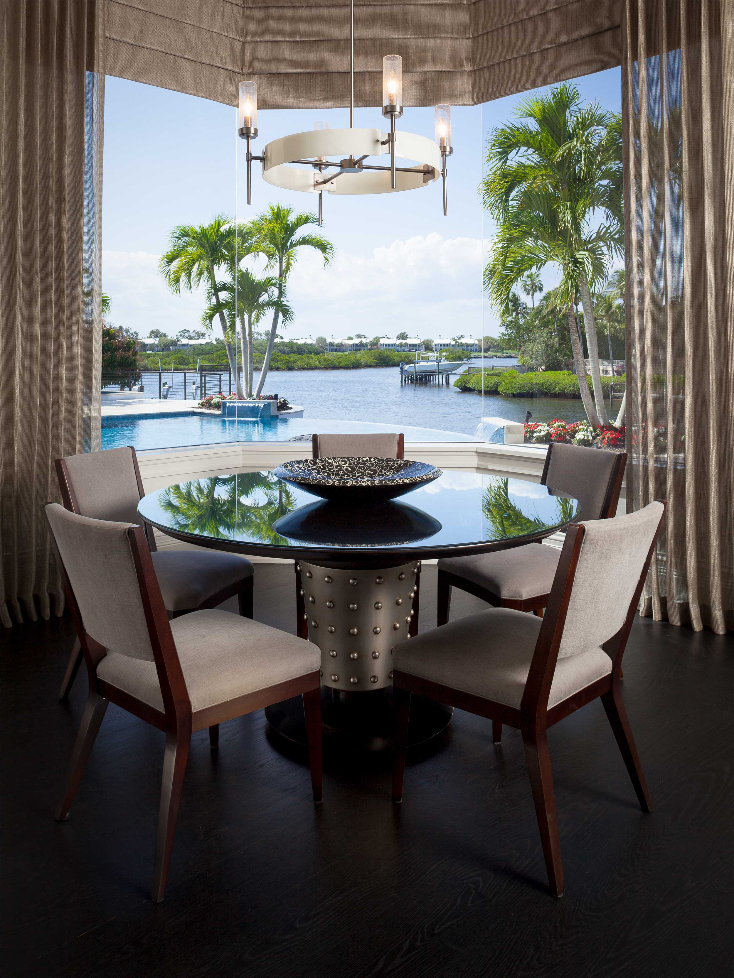 Kitchen table overlooking the intracoastal in Residential Interior Design Project in Jupiter, FL