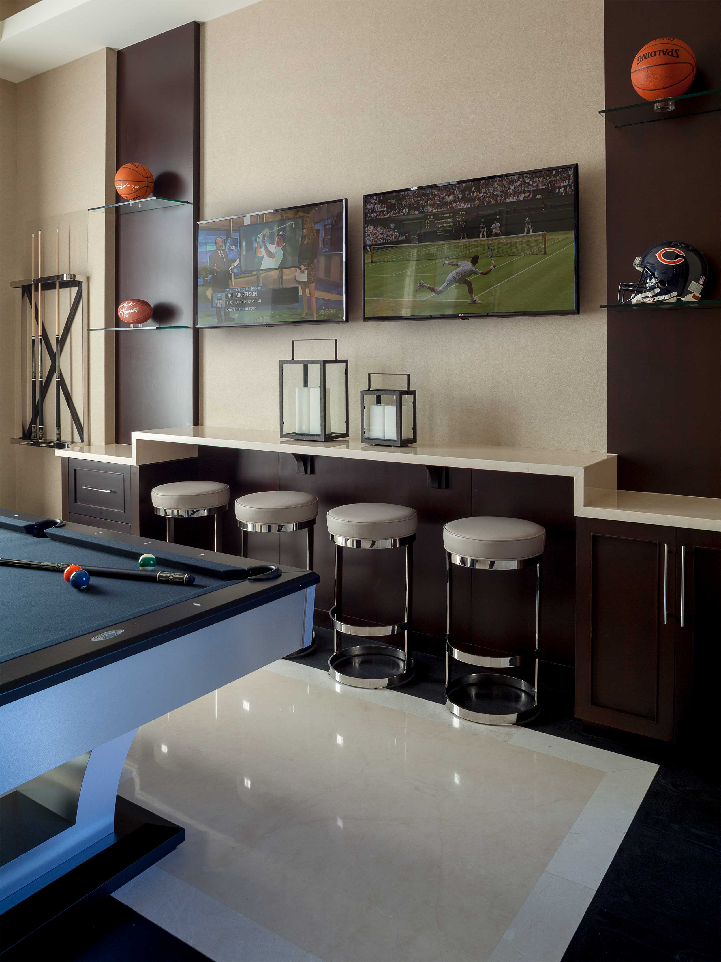 Game room in Residential Interior Design Project in Jupiter, FL