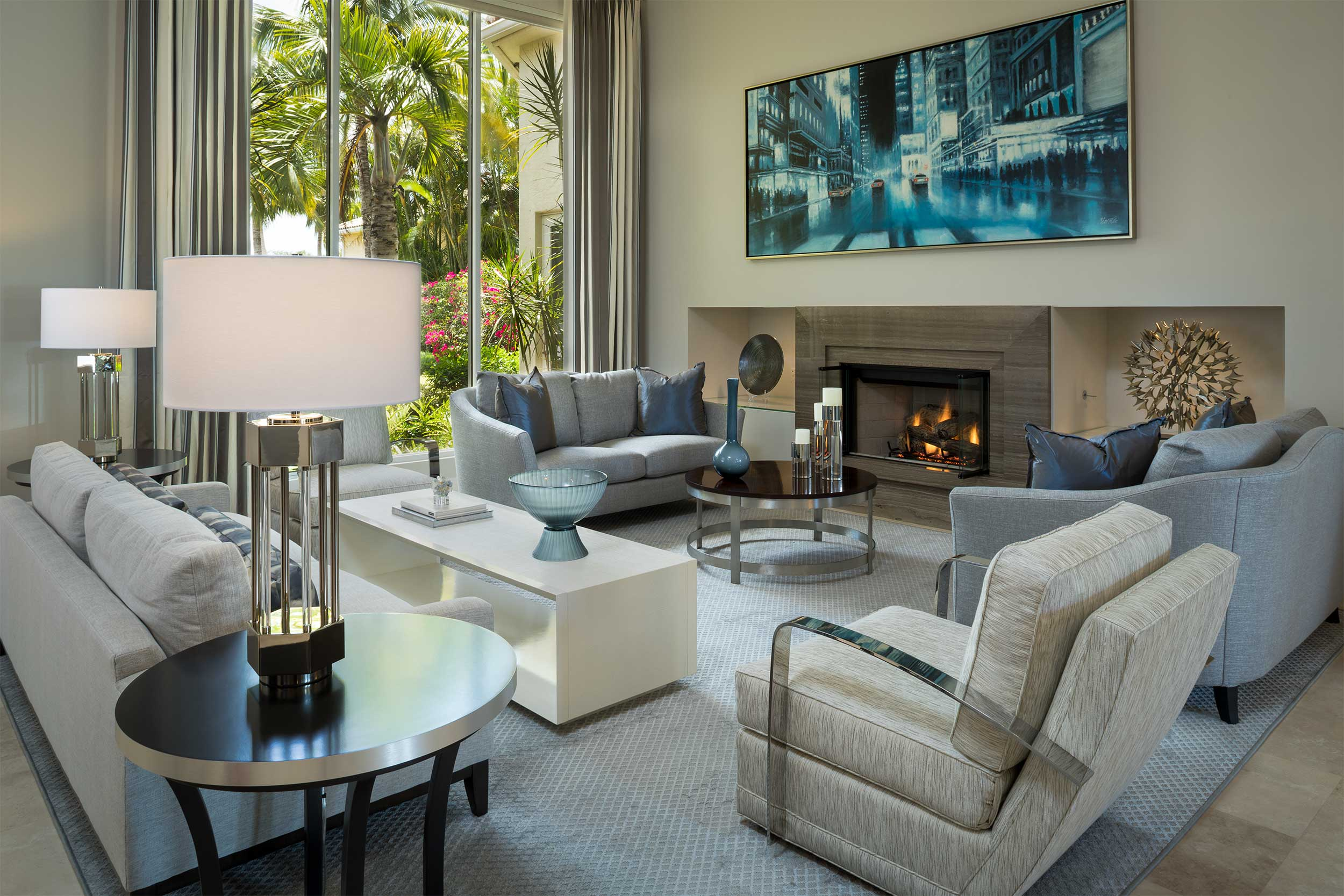 Contemporary design living room at Admiral's Cove